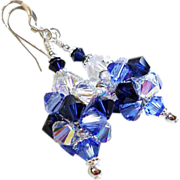 SOLD Swarovski Crystal Cluster Ball Earrings In Blue and Silver - Red Tag Sale Item