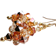 SOLD Swarovski Crystal Cluster Ball Earrings In Rose Gold and Crystal Copper