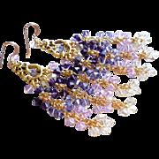 SOLD Purple Swarovski Crystal Long Chandelier Earrings