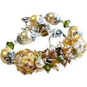SOLD Lampwork Bracelet With Swarovski Crystals In Gold and Cream - Red Tag Sale Item