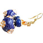 Navy Blue and Orange Lampwork Earrings