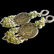SOLD Olive Green Aged Brass Swarovski Crystal Chandelier Earrings