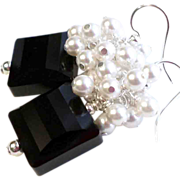 SOLD Petite Black and White Swarovski Crystal Cluster Earrings