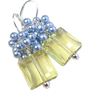 SOLD Petite Swarovski Crystal and Pearl Cluster Earrings In Jonquil Yellow and Light Blue