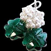 Emerald Green Swarovski Crystal Four Leaf Clover Earrings