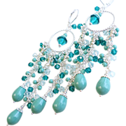 SOLD Shades of Teal and Jade Long Swarovski Crystal and Pearl Chandelier Earrings