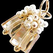 SOLD Swarovski Crystal Golden Shadow Short Cluster Earrings