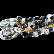 SOLD Swarovski Crystal Black Patina Long Cluster Dangle Earrings