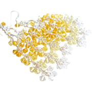 SOLD Shades of Yellow Swarovski Crystal Chandelier Earrings