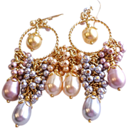 Swarovski Crystal Faux Pearl Ornate Cluster Chandelier Earrings In Pastels