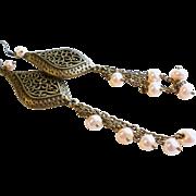 Aged Brass and Peach Fresh Water pearl Long Chandelier Earrings