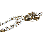 SOLD Aged Brass Humming Bird Long Earrings