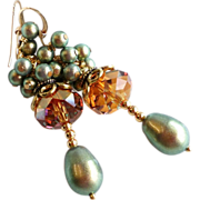 SOLD Petite Length Copper and Iridescent Green Swarovski Crystal Earrings