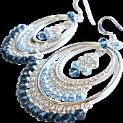 SOLD Swarovski Crystal Large Chandelier Earrings In Blue Shades