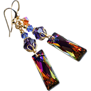 SOLD Swarovski Crystal Baguette Pendant Drop Earrings
