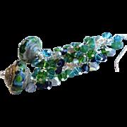 Green and Blue Lampwork Swarovski Crystal Earrings