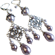 SOLD Chandelier Earrings With Swarovski Faux Pearls and Aged Silver Finished Brass Details