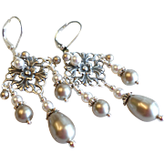 SOLD Aged Silver Finished Brass Swarovski Faux Pearl Chandelier Earrings In Platinum and White