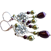 SOLD Aged Silver Finished Brass Chandelier Earrings With Swarovski Faux Pearls in Blackberry a