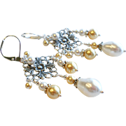SOLD Aged Silver Plated Brass Swarovski Faux Pearl Chandelier Earrings - Gold and White Colors
