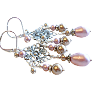 SOLD Aged Silver Plated Brass Chandelier Earrings With Swarovski Faux Pearls In Pink and Bronz