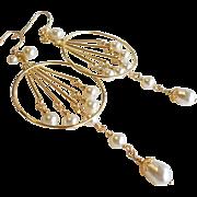 SOLD Swarovski Crystal Faux Pearl Large Chandelier Earrings