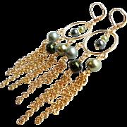 Shades Of Green Swarovski and Glass Faux Pearl Chandelier Hoop Earrings