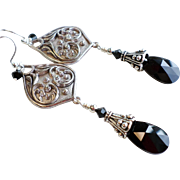 SOLD Black and Silver Plated Pewter Swarovski Crystal Dangle Earrings