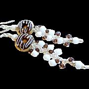 Chocolate Donut Lampwork Glass Swarovski Crystal Long Dangle Earrings