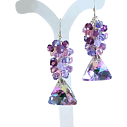 SOLD Shades of Purple and Pink Swarovski Crystal Cluster Earrings