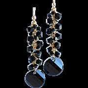 Jet Black Swarovski Crystal Dangle Cluster Earrings