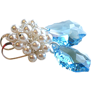 Aquamarine Swarovski Crystal and Faux Pearl Cluster Earrings