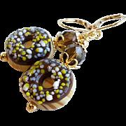 SOLD Chocolate Donut Theme Lampwork Earrings