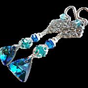 SOLD Bermuda Blue Swarovski Crystal Long Dangle Earrings