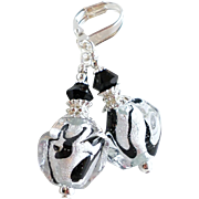 Venetian Glass Sterling Silver Foil Earrings