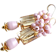 Golden Shadow Swarovski Crystal Earrings With Swarovski Pink Faux Pearl Clusters