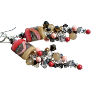 Long Lampwork Earrings In Shades of Brown, Beige, Coral and Silver Gray