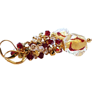 SOLD Genuine 24KT Gold Foil Venetian Bead Earrings With Swarovski Crystal Clusters
