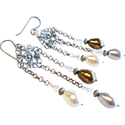 SOLD Swarovski Faux Pearl Chandelier Earrings With Aged Silver Finished Details