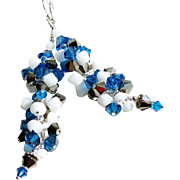 Swarovski Crystal Cluster Bead Long Earrings In Capri Blue, Bronze and White Shades