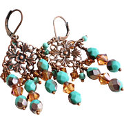 SOLD Copper and Turquoise Colored Chandelier Earrings With Swarovski Crystals and Czech Glass
