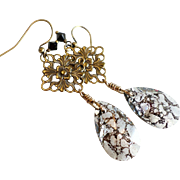 SOLD Swarovski Crystal Black Patina Long Dangle Earrings With Aged Brass Elements