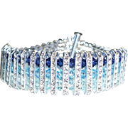 SOLD Swarovski Crystal Triple Strand Cuff Style Statement Bracelet - Red Tag Sale Item