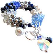 Icy Blue and White Holiday Winter Themed Charm Cluster Bracelet With Swarovski Crystals and Fa