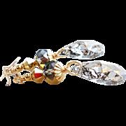 "SOLD Metallic Gold ""Patina"" Swarovski Crystal Long Dangle Earrings"