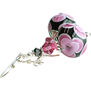 Pink and Dark Gray Floral Lampwork Earrings With Swarovski Crystals