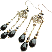 SOLD Vintage Inspired Aged Brass Chandelier Earrings With Black Swarovski Faux Pearls and Crys