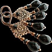 Dark Copper Plated Brass Chandelier Earrings With Swarovski Faux Pearls In Black