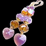 Swarovski Crystal 3 Inch Long Heart Motif Dangle Earrings in Purple and Topaz Shades