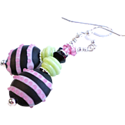 Pink, Black and Lime Green Lampwork Glass Earrings With Swarovski Crystals